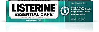 Listerine Essential Care Original Gel Fluoride Toothpaste, Prevents Bad Breath and Cavities, Powerful Mint Flavor for Fres...