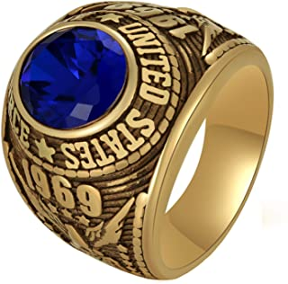 Cloyo Men's Air Force Stainless Steel Ring Blue Stone Inlay Vintage Golden Military Band Polished Size 7-11