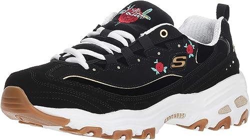 Turnschuhe Schwarz Damen Blooms Rosas D′lites Skechers WIEYD2H9