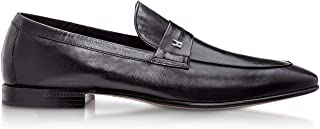 Luxury Fashion | Moreschi Men BRISBANEBLACK Black Leather Loafers | Season Permanent