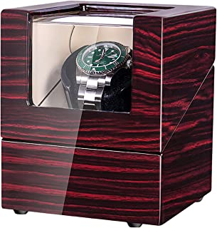 JQUEEN Watch Winder for Automatic Watches with Quiet Japanese Mabuchi Motor (Brown+White)