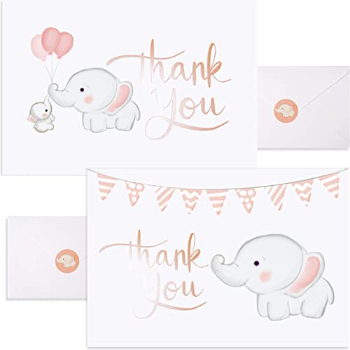 Baby Nest Designs, Baby Shower Thank You Cards Girl. Bulk Set of 50 Elephant Pink Thank You Cards with Envelopes for ...