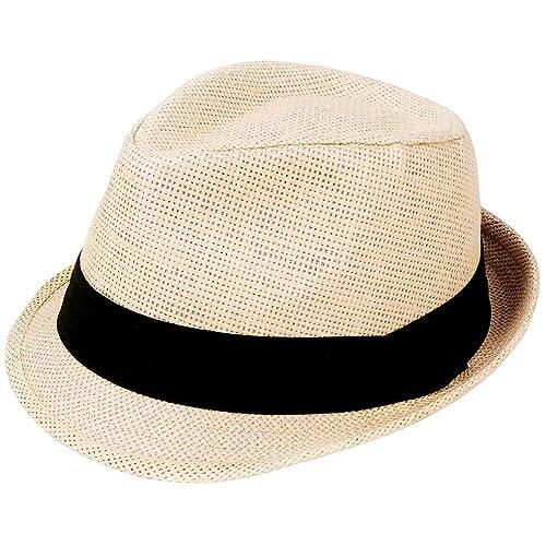 AshopZ Unisex Summer Outdoors Short Brim Straw Fedora Hat cbdcb11f7e9