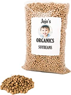 Organic Soybeans 5 lbs by Jojo's Organics   Whole Soy Beans Organic Non-GMO Bulk Food Dry Legumes Beans Vegan Great for Soy Milk Soy Protein Soy Flour and Tofu 100% Product of USA