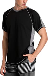 Vegatos Mens Short Sleeve Swim Shirt UV Protection Rash Guard Quick Dry Swim Tee
