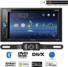 Pioneer AVH-221EX Multimedia DVD-Receiver + License Plate Style Backup Camera with Sound of Tri-State Lanyard Bundle