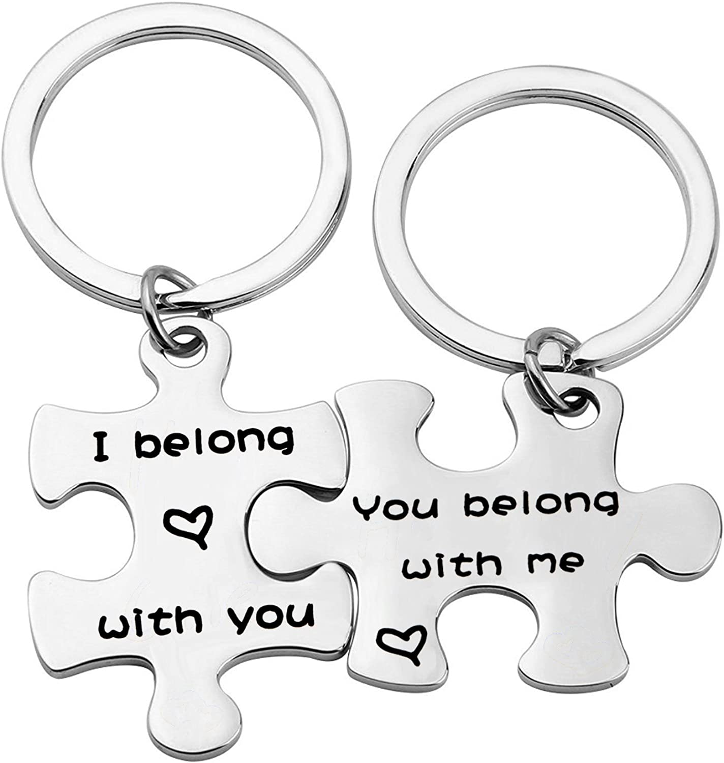 Gzrlyf Couple Keychain Puzzle Piece Gift His and Hers Keychains I Belong with You Belong with Me Keychain Wedding Gift