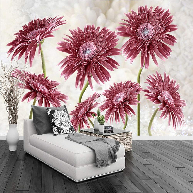 Dalxsh Papel Tapiz Fotográfico Personalizado 3D rojo Daisy Flores Mural Sala De Estar Dormitorio Romántico Telón De Fondo Pintura De Parojo Moderna Simple Papeles De Parojo-200X140Cm