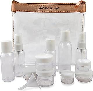 Miamica Tsa - Juego de botellas de viaje y bolsa de aseo, 15 piezas, oro rosa, Transparente/Rosa (Clear/Rose Gold), Una talla