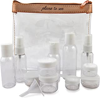 MIAMICA Miamica TSA Compliant Travel Bottles and Toiletry Bag Kit, 15 Piece, Rose Gold, Clear/Rose Gold (Gold) - M31103