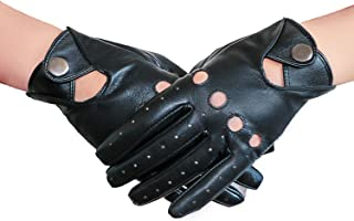 SOFIKY Leather Driving Gloves for Women,Touchscreen Ladies Thin Unlined Gloves with Anti Slip Layer