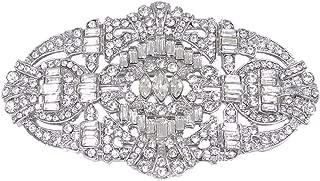 EVER FAITH Austrian Crystal Wedding Art Deco Buckle Brooch Clear