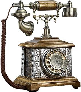 Old-Fashioned Telephone Rotating Dial Antique Telephone European Resin + Metal Bracket Fixed Telephone Retro Landline