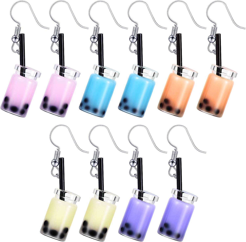 5 Pairs Pearl Milk Tea Dangle Financial sales sale Earrings Drop In stock Bubble
