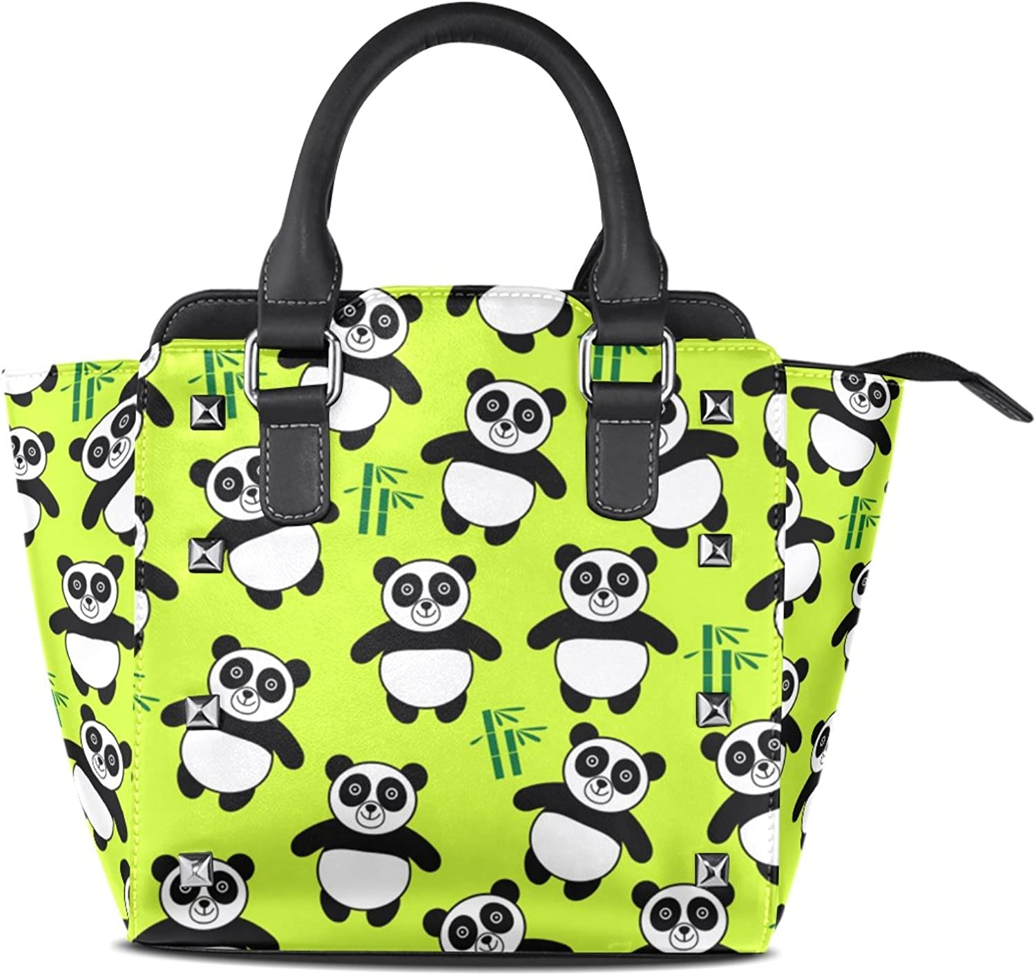 My Little Nest Women's Top Handle Satchel Handbag Cartoon Panda Green Ladies PU Leather Shoulder Bag Crossbody Bag