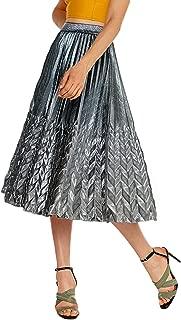 Women's Glitter Metallic Chevron Pattern Gold & Silver Mid-Long Accordion Pleated Skirts