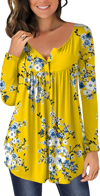 ELF QUEEN Plain Color Floral Print Short Sleeve Henley Neck Tunic Top Blouse Shirt for Womens