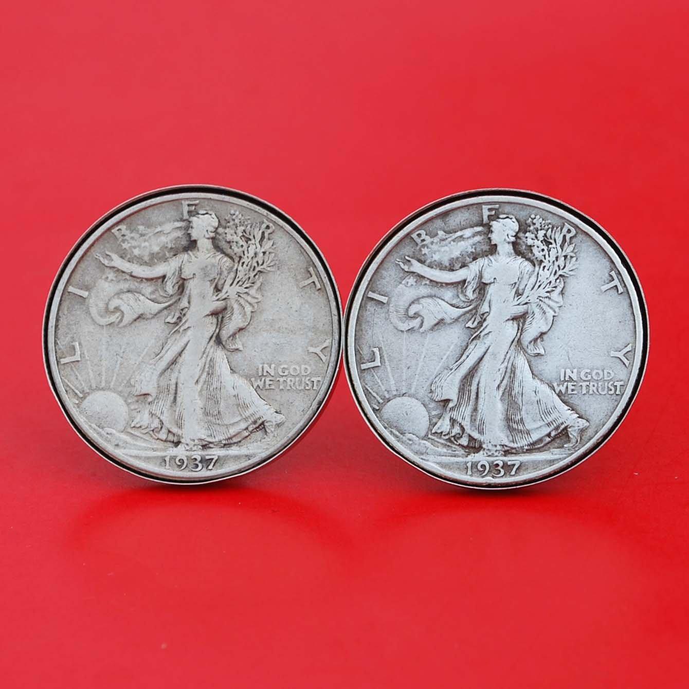 US 1937 Walking Liberty Half Coin Dollar Silver Max 64% OFF sale 90% Cuffl