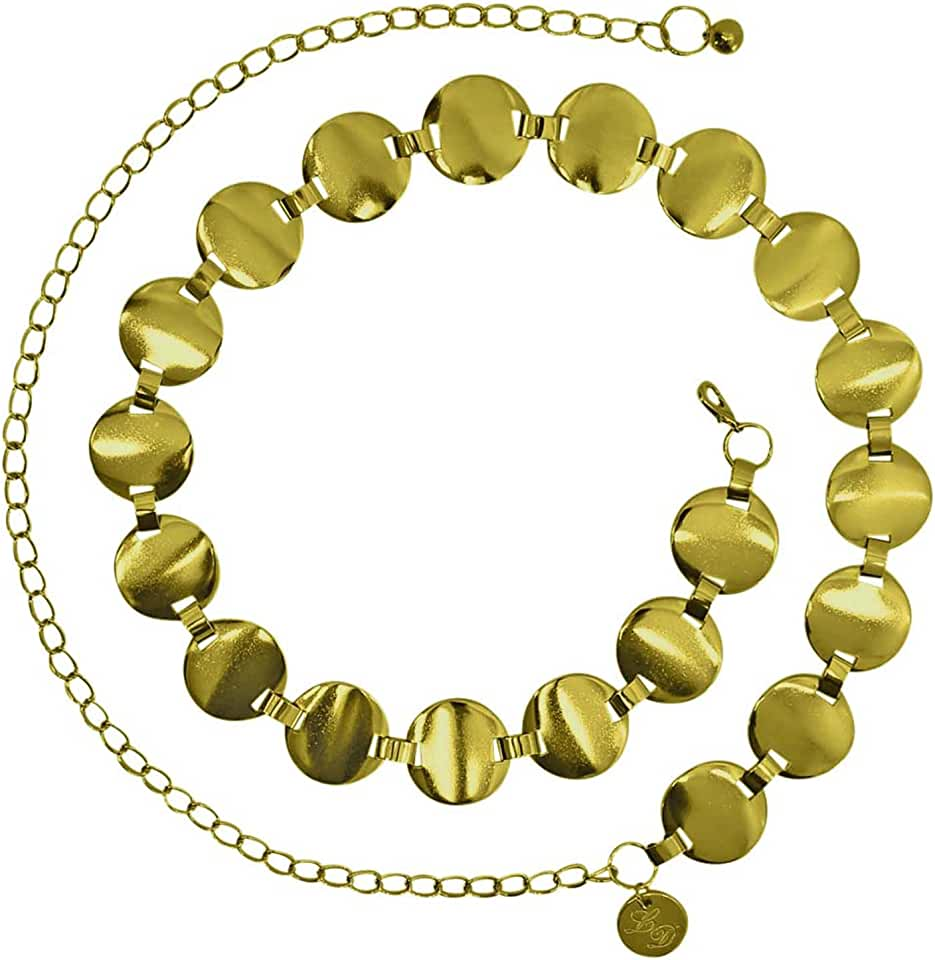 Gold Smooth Round Disc Chain Link Belt