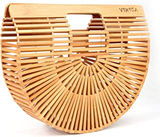 Vintga Bamboo Handbag Handmade Tote Bamboo Purse Straw Beach Bag for Women