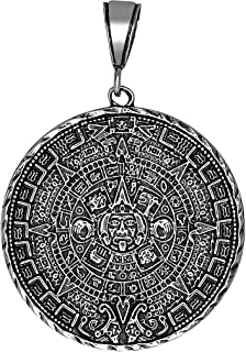 Sterling Silver Aztec Calendar Charm Pendant Necklace Antique Finish with Chain