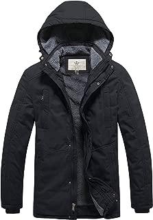 WenVen Men's Windbreaker Winter Thicken Hooded Jackets
