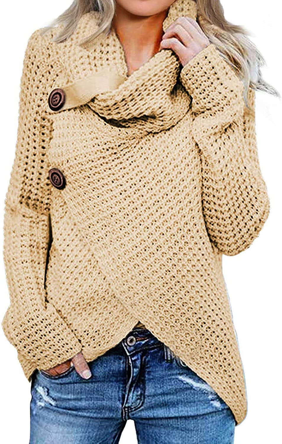 FABIURT Sweaters for Women, Womens Fashion Turtleneck Long Sleeve Knit Sweater Casual Pullover Blouse Tops with Buttons