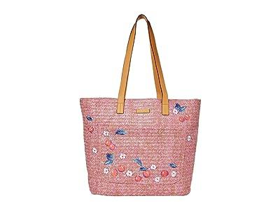 Vera Bradley Front Pocket Straw Tote (Pink Cherry) Tote Handbags