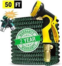 UK BONITOYS Expandable 50ft Garden Hose Upgraded,Extra Strength, 3/4 Solid Brass Fittings 9 Pattern Spray Nozzle Water Shrinking Hose, Flexible Expanding Hose with Bonus Hose Splitter