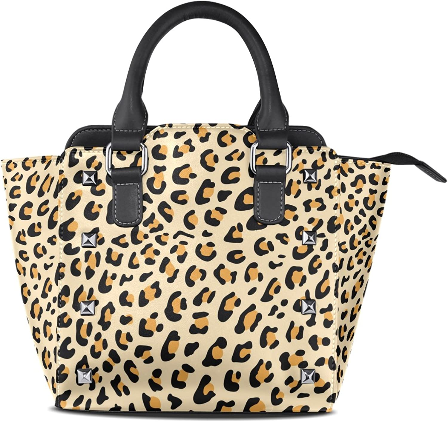 My Little Nest Women's Top Handle Satchel Handbag Leopard Skin Pattern Ladies PU Leather Shoulder Bag Crossbody Bag