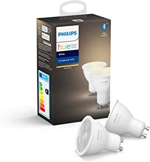 Philips Hue White Smart Spotlight Twin Pack LED [GU10 Spot] with Bluetooth. Works with Alexa and Google Assistant.