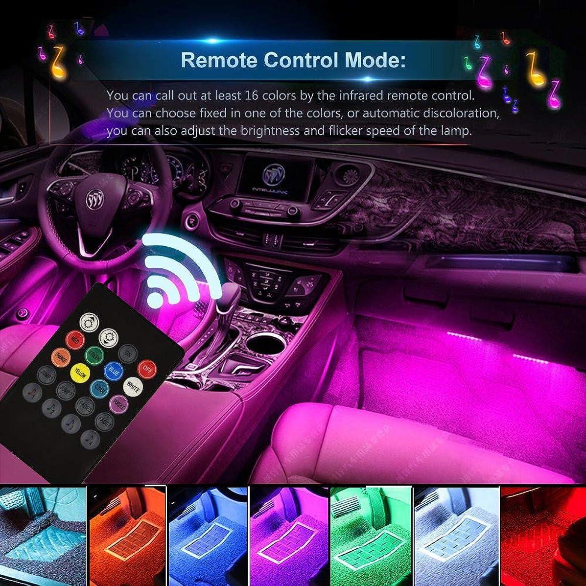 Ecosin 7-Color RGB LED Neon Strip Light Music Remote Control for Car Interior Lighting