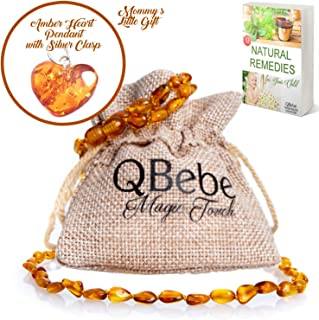 Amber Teething Set - QBebe - Amber Teething Necklace Plus Bracelet/Anklet for Babies (Honey) - Fit for Moms Too - Certificated Baltic Amber - Teething Pain Reduce and Anti Inflammatory