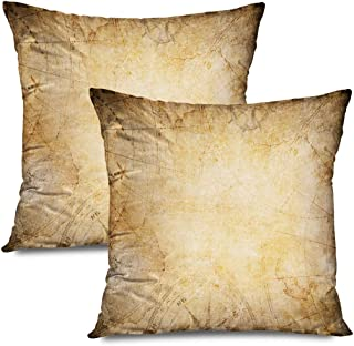 Ahawoso Set of 2 Throw Pillow Covers Square 16x16 Parchment Aged World Nautical Blank Texture Treasure Compass Circle Map Vintage Backdrop Textures Zippered Pillowcases Home Decor Cushion Cases