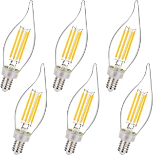 Dimmable 4.5W Equivalent to 50W LED Candelabra Bulb 2700K Warm White 450LM, E12 Chandelier Base LED Candle Bulbs, CA11/C35 Clear Glass Flame Shape Bent Tip (6 Pack)
