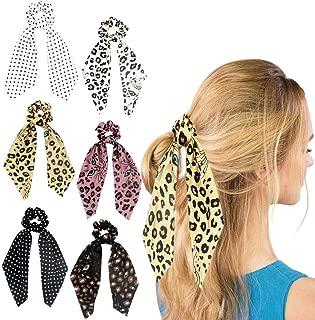 Funlovin Satin Hair Scarf Scrunchies 6 Hair Scarves Cheetah-print Silk Hair Scarfs Scrunchie Pack Big Bowknot Ponytail Holder Chiffon Dot Cute Hair Ties Scrunchy for Women Girl Black/White/Pink/Yellow