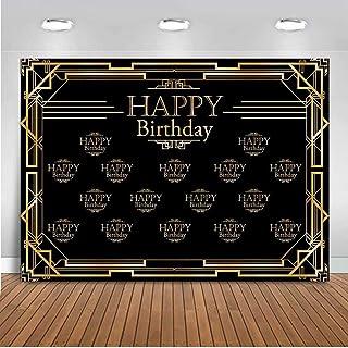 ZYZYKK Geburtstags Fotohintergrund für Männer oder Frauen, Great Gatsby, Geburtstags Party Banner, 2,4 x 1,8 m, Schwarz / Gold, Dekoration Bilder Hintergrund Supplies D06F8