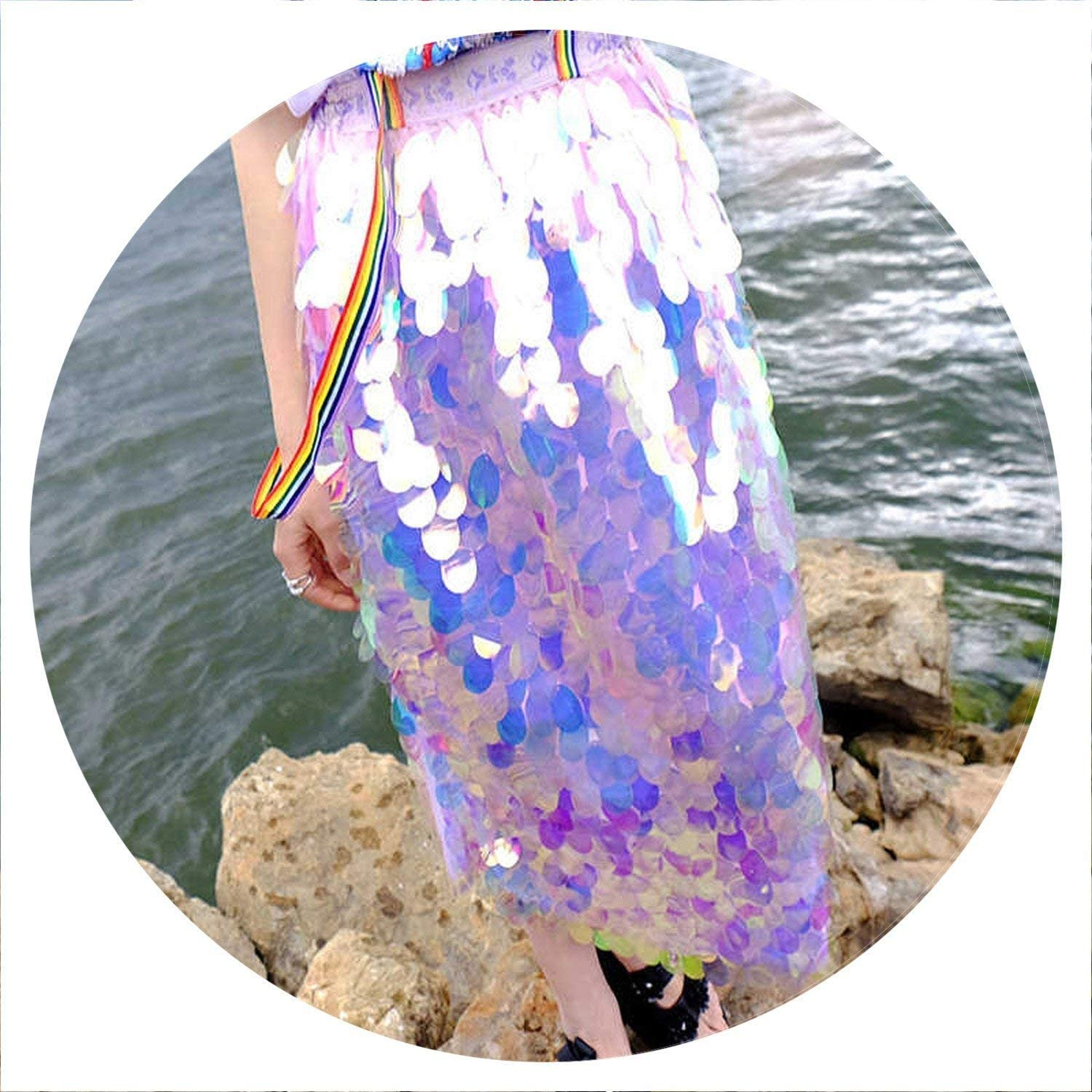 Brave pinkmary Bling Sequins Mermaid Skirt Elastic Waist Women High Waist Skirt Feminino Sparkling Party Style