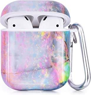 Airpods Case - CAGOS 3 in 1 Cute Marble Airpods Accessories Protective Hard Case Cover Portable & Shockproof Women Girls Men with Keychain/Strap/Earhooks for Airpods 2/1 Charging Case - Colorful