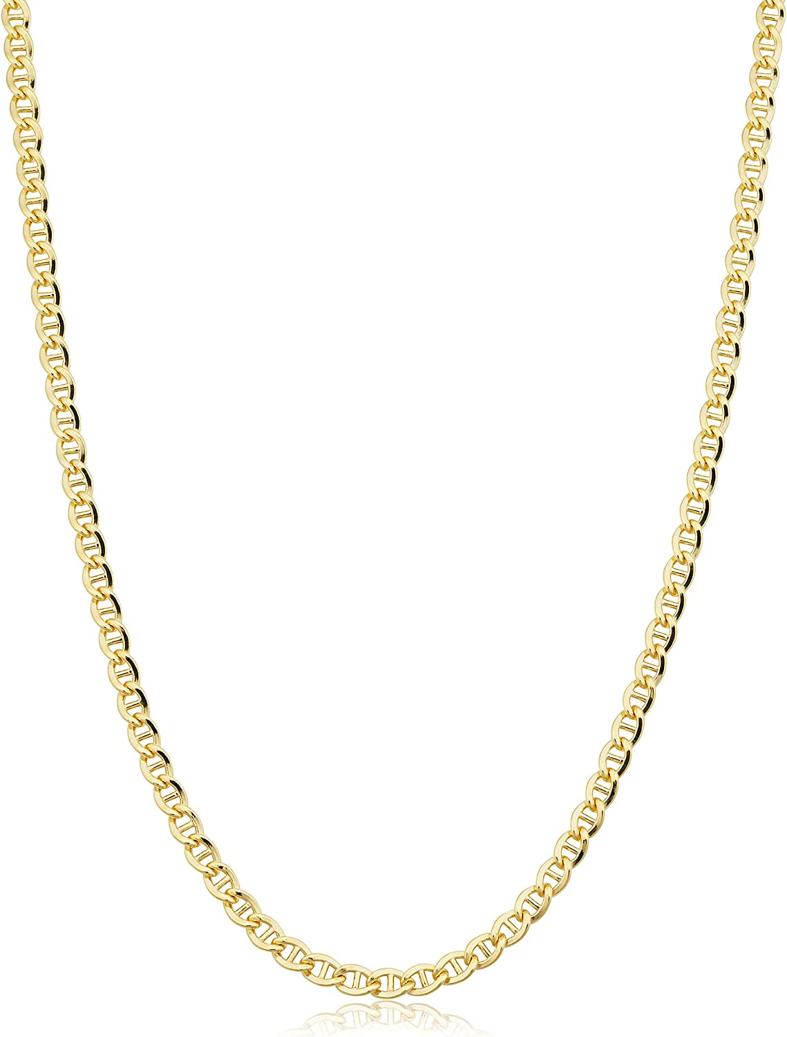 Solid 14k Yellow Gold Filled 3.4 mm Mariner Link Chain Necklace for Men and Women (16-36 inch)