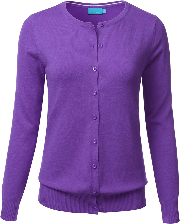 FLORIA Women's Button Down Crew Neck Long Sleeve Soft Knit Cardigan Sweater Ultraviolet M