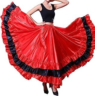 db22e6e110 Women Gypsy Performance Tiered Skirt Belly Spanish Bull Dance Dress Black  Red Circle Skirt