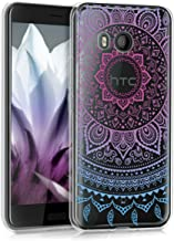 kwmobile TPU Silicone Case for HTC U11 - Crystal Clear Smartphone Back Case Protective Cover - Blue/Dark Pink/Transparent