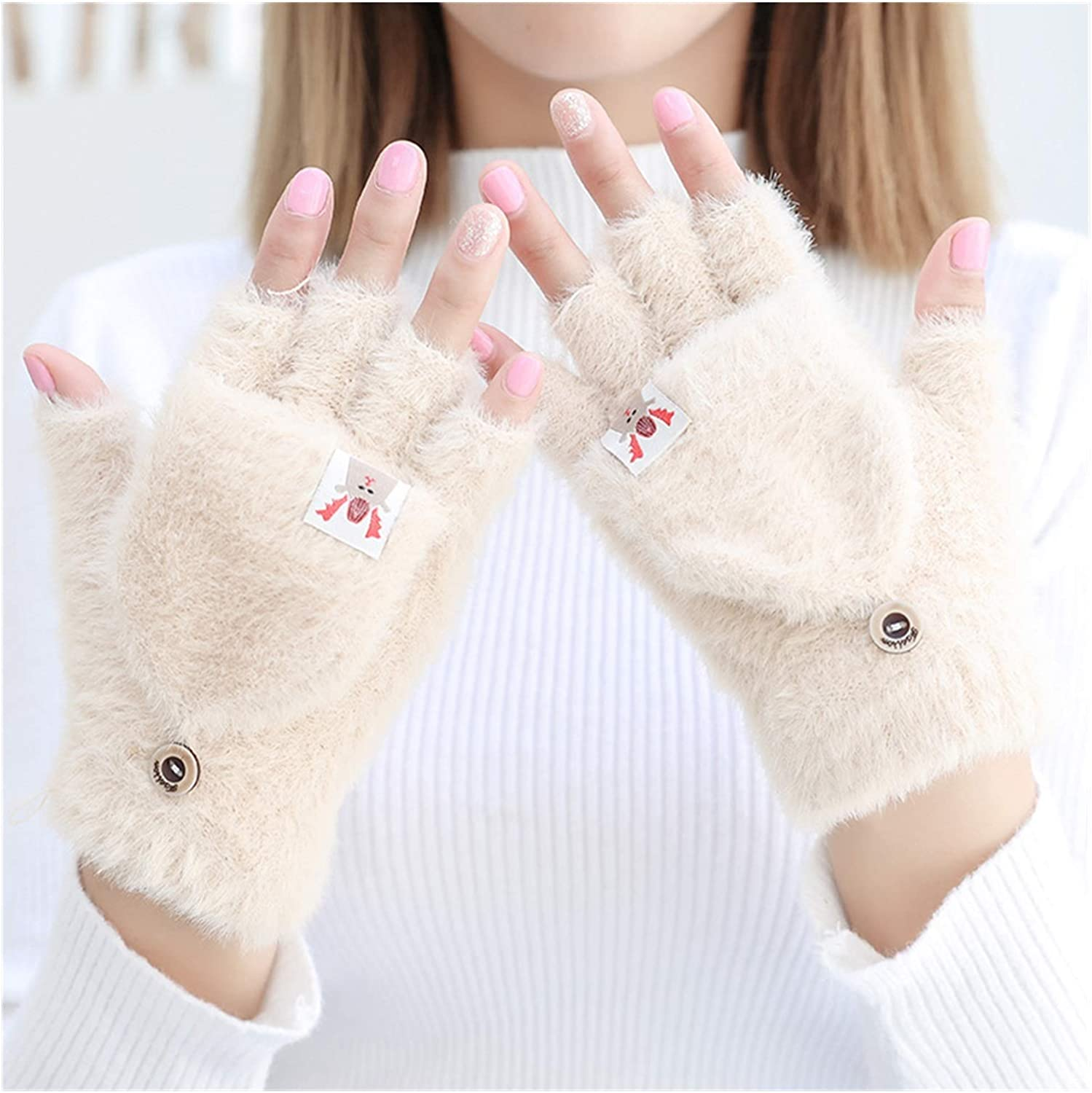 XIAOQIU Gloves Women's Winter Warm Gloves Touch Screen Gloves Cute Fingerless Gloves Knitted Fluff Outdoor Flip Cover Gloves Mittens (Color : Yellow, Gloves Size : T)