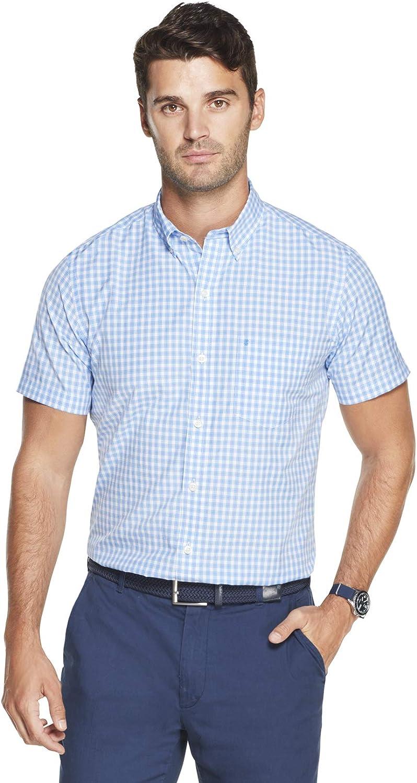 IZOD Men's Breeze Short Sleeve Button Down Gingham Shirt