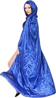 Unisex Adult's Hooded Robe Cloak Long Velvet Cape Halloween Christmas Party Cosplay Witch Death Costume Full Length