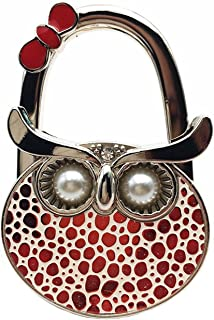 Owl Foldable Handbag Purse Holder With Pearl Eyes