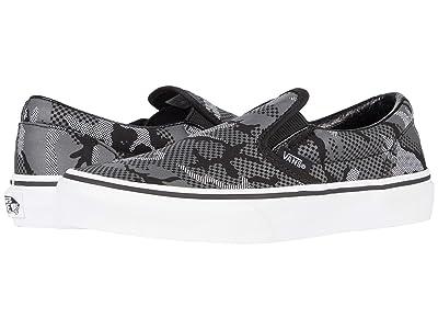 Vans Kids Classic Slip-On (Little Kid) ((Pattern Camo) Black/True White) Boys Shoes