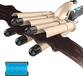 Digital Hair Crimper Hair Iron for Women - 3/4-Inch (19mm) Small Hair Waver Iron, 5-Barrel Hair...