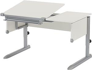 Kettler Kids Comfort ll Schülerschreibtisch – 6-fach höhenverstellbarer Kinderschreibtisch MADE IN GERMANY – flexible Tischplatte – höhen- und neigungsverstellbarer Schreibtisch – weiß & silber